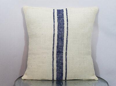 Custom ivory burlap grain sack stripes NAVY BLUE (or custom color) pillow cover - Navy Burlap