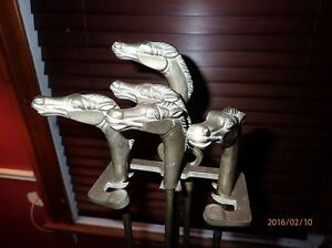 Fireplace Tool Set with Horse Head Handles (Brass)