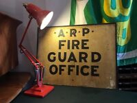 1940s WW2 Blitz Era A.R.P 'Fire Guard Office' Sign. Militaria/War/Air Raid/Antique