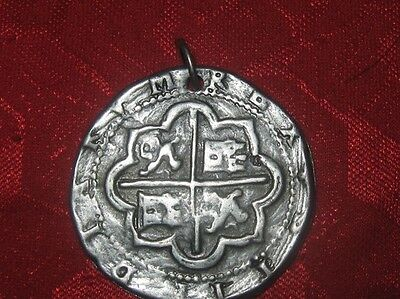 SILVER TONE COIN PIECES OF EIGHT PIRATE SPANISH CHARM PENDANT NECKLACE