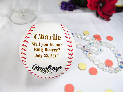 Personalized Engraved Baseball Will you be our Ring Bearer Gift Wedding Favor - Ring Bearer Gift