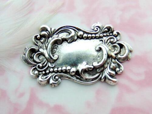 ANTIQUE SILVER Victorian Scroll Plaque Stamping ~ Finding (FA-6055)