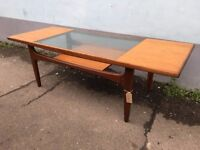 1960s G Plan teak and glass top Coffee Table. Vintage/Retro/Mid Century
