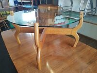 1960s Glass Topped Oak Framed Danish Style Coffee Table. Vintage/Retro/Mid Century