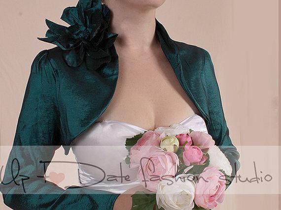 Dark emerald green taffeta jacket, long sleeves bridal shrug wedding bolero