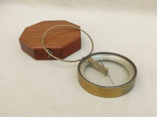 antique vintage compass with wood case box - magnetic compass surveying