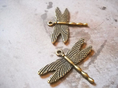 Steampunk Jewelry Supplies (10 Dragonfly Charms Antiqued Bronze Pendants Steampunk Supplies Garden)