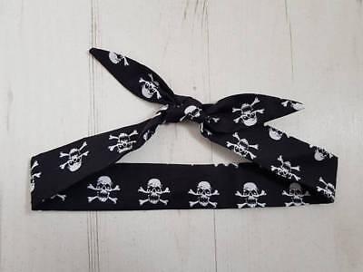 Baby Head Scarf - Black Skull & Crossbone Pirate - Cotton Bib Baby Shower