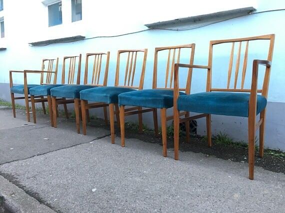 Set Of Six 1950s Teak And Upholstered Dining Chairs By Gordon