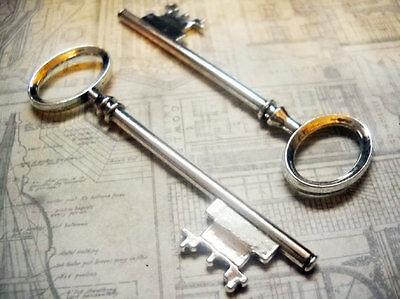 Skeleton Keys Bulk (25 Bulk Skeleton Keys Antiqued Silver Wholesale Steampunk 80mm Big 3