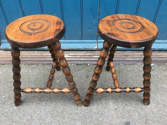 A pair of charming 1940's Turned Leg French Milking Stools. Vintage/Retro/Mid Century