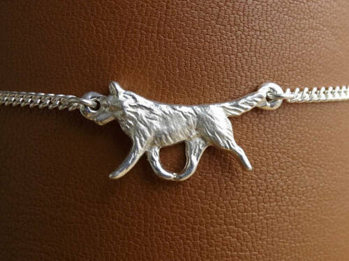 Sterling Silver Siberian Husky Moving Study Anklet