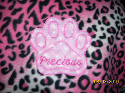 PET DOG CAT FLEECE BLANKET PERSONALIZED Handcraft 36x30 in med dark pink leopard