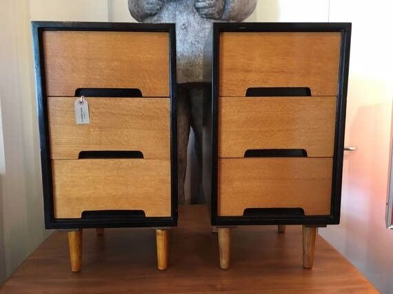 Pair Of 1960s Hand Crafted Stag C Range Bedside Cabinets Vintage Retro Mid