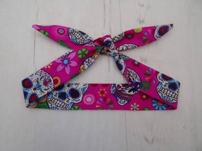 Baby Head Scarf - Pink Mexican Candy Skull  - Tattoo Bandana Hair Rockabilly