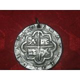 WHOLESALE LOT OF 2 ANTIQUE SILVER COIN PIECES OF EIGHT PIRATE PENDANTS