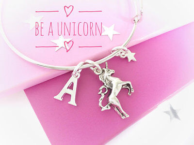Unicorn Bangle,Silver,Gift for Unicorn lover,Personalised,Unicorn Charm Bracelet
