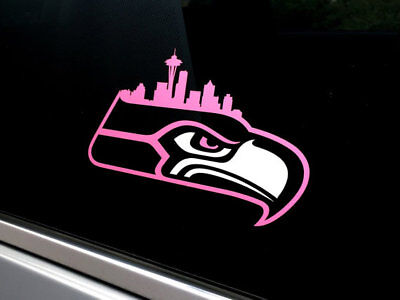 Seahawks Skyline of Seattle Space Needle Vinyl Pink & White Sticker | Car Decal](Pink Seahawks)