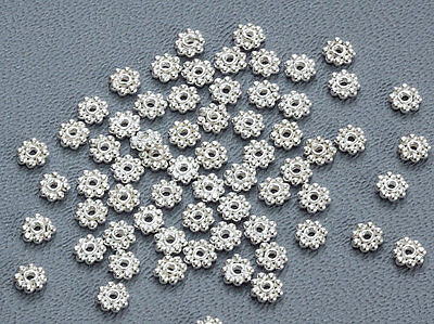 .925 BALI STERLING SILVER 3.5mm SHINY DAISY FLOWER SPACER BEADS (50)