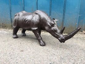 1950's Decorative Leather Rhino. Antique/Vintage/Quirky/Animal