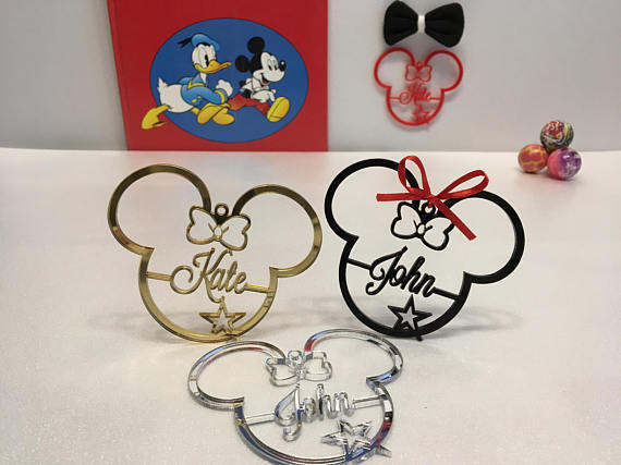 Personalized Any Name Mickey Mouse Minnie Ears Tree Ornament