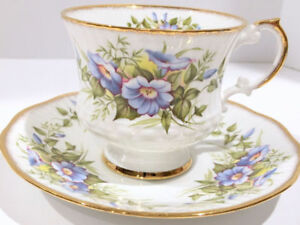 Elizabethan Tea Cup and Saucer, Morning Glory  - Bone China
