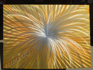 abstract painting art 48x36 LARGE Golden yellow METAL contempory