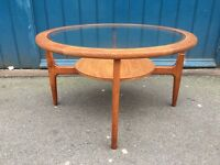 1960s Teak and Glass Circular Coffee Table by Stonehill. Vintage/Retro/Mid Century