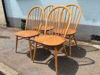 Set of Four Mint Condition, Contemporary Ercol Windsor Dining Chairs. Vintage/Retro/Mid Century