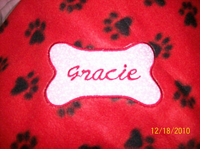 PET DOG CAT FLEECE BLANKET PERSONALIZED Handcrafted 40x40 in large red paw print