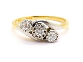 STUNNING 18CT SOLID GOLD & PLATINUM DIAMOND RING SIZE L 1/2 HALLMARKED .15CT DIAMOND MADE ENG WOW