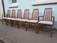 Set of Six 1960s Swedish Svergard Markaryd Dining Chairs. Vintage/Retro/Mid Century