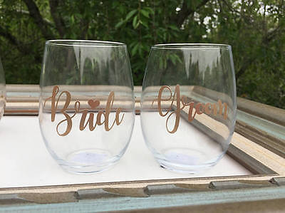 2 PERSONALIZED WEDDING WINE GLASS STEMLESS BRIDE GROOM BRIDESMAID DRINKWARE GIFT - Personalized Drinkware