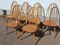 Set of Six 1960's Ercol Windsor Quaker Dining Chairs. Vintage/Retro/Mid Century