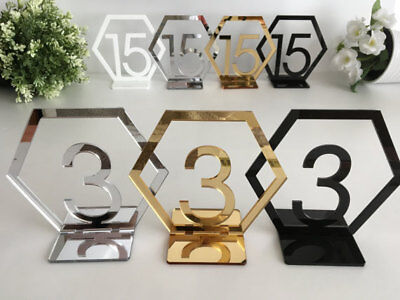 Gold Wedding Table Numbers (Wedding Table Numbers Hexagon Geometric Reception Centerpiece Gold Number)