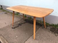 1960's Ercol Plank Dining Table in Elm & Beech. Vintage/Retro/Mid Century