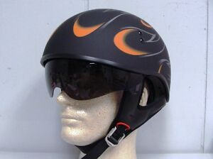 GMAX-GM-55S-HALF-HELMET-FLAT-BLACK-FLAMES-W-RETRACTABLE-INNER-SUN-LENS-SM