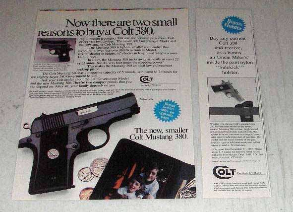 1987 Colt Mustang 380 Pistol Ad - Two Small Reasons