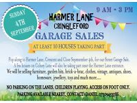 STREET GARAGE SALE CRINGLEFORD - SUN 4TH SEPTEMBER (9AM - 3 PM) HARMER LANE, CRES & CLOSE