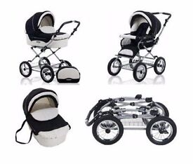 Roan Kortina Traditional Carry cot pram / Pushchair with sprung chassis air filled tyres nappy bag