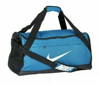 Nike Brasilia MEDIUM Duffel Bag BA5977 310 Gym Travel Blue Black White NWT 09f39851a014a