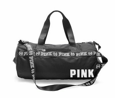 VICTORIA'S SECRET PINK GYM DUFFLE TOTE TRAVEL BAG  Black - NWT