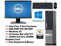 Cheap Fast Gaming DELL PC SET Core2Duo @ 4.0GHz 4GB 250GB WIFI 19inches TFT Win 10 Pro