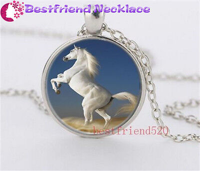 White Horse Cabochon Glass silver necklace for women men Jewelry