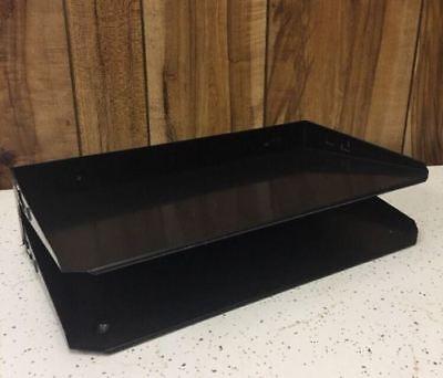 Vtg 2 Tier Desk Organizer Black Wood Letter Papers Invoices Hunt Manufacturing