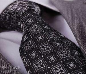Amedeo-Exclusive-New-Tie-Silver-Black-Squares-Silk-Necktie-Gift-Box-Aet041