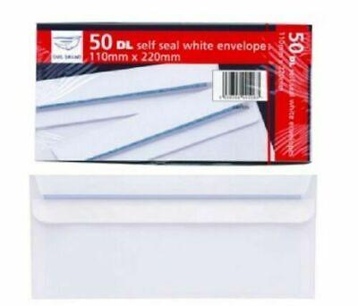 50 Self Seal Envelope Dl White Plain Letter Paper Envelopes Home School Office