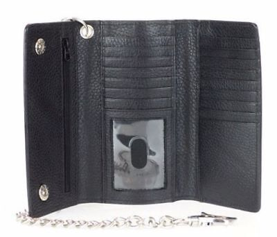 RFID Signal Blocking Black Leather Motorcycle Checkbook Chain Wallet Trifold New