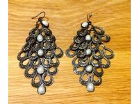 BEAUTIFUL LAYERED HOOK STYLE CHANDELIER EARRINGS WITH SEED PEARLS FROM JC PENNEY