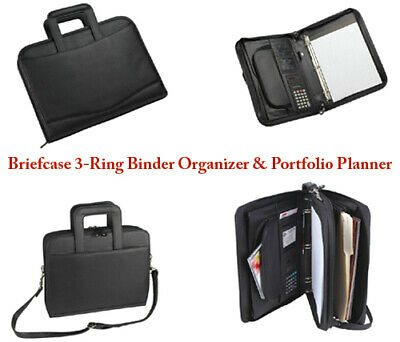 Briefcase 3-ring Binder Folder Portfolio Organizer Planner W Smart Handle